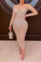 Apricot Fashion Sexy Patchwork Hot Drilling See-through O Neck Long Sleeve Dresses
