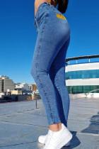 Medium Blue Fashion Casual Print Basic High Waist Skinny Jeans