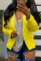 Yellow Fashion Casual Solid Pocket Buttons Turndown Collar Outerwear