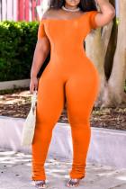 Orange Fashion Casual Solid Fold Off the Shoulder Regular Jumpsuits
