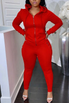 Red Casual Solid Split Joint Zipper Hooded Collar Long Sleeve Two Pieces