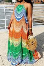 Colour Sexy Print Split Joint Spaghetti Strap A Line Plus Size Dresses