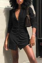 Black Casual Solid Split Joint Buckle Turndown Collar Shirt Dress Dresses