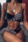 Leopard print Nylon Patchwork Two Piece Suits Europe and America Tankinis Set