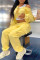 Yellow Fashion Casual Solid Split Joint O Neck Long Sleeve Two Pieces