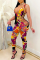 Rose Red Sexy Print Hollowed Out V Neck Skinny Jumpsuits