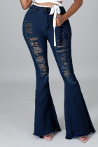 The cowboy blue Sexy Solid Ripped Mid Waist Boot Cut Denim Jeans