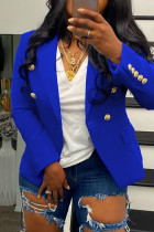 Blue Fashion Casual Solid Pocket Buttons Turndown Collar Outerwear