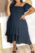 Tibetan Blue Fashion Casual Plus Size Solid Backless Off the Shoulder Short Sleeve Dress
