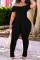 Black Fashion Casual Solid Fold Off the Shoulder Regular Jumpsuits