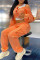 Orange Fashion Casual Solid Split Joint O Neck Long Sleeve Two Pieces