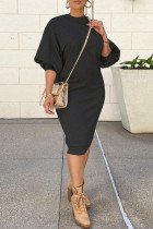 Black Casual Solid Split Joint O Neck Straight Dresses