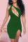 Green Sexy Solid Hollowed Out Halter Pencil Skirt Dresses
