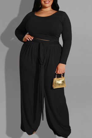 Black Casual Solid With Belt O Neck Plus Size Two Pieces