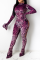 Purple Sexy Leopard Hollowed Out Half A Turtleneck Skinny Jumpsuits
