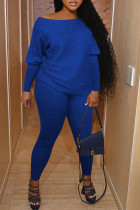 Blue Casual Solid Split Joint O Neck Long Sleeve Two Pieces