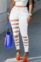 White Street Solid Ripped Mid Waist Skinny Denim Jeans