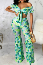 Green Sexy Print Split Joint Off the Shoulder Half Sleeve Two Pieces