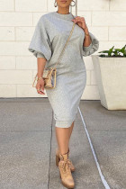 Grey Casual Solid Split Joint O Neck Straight Dresses