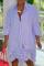 Blue Casual Striped Split Joint Turndown Collar Shirt Dress Dresses