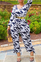 Black White Fashion Casual Print Without Belt O Neck Regular Jumpsuits