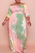Multicolor Sexy Print Tie-dye Off the Shoulder A Line Plus Size Dresses
