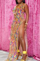 Colour Sexy Print High Opening Halter Irregular Dress Dresses