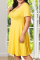 Deep Blue Casual Solid Split Joint Square Collar Cake Skirt Plus Size Dresses