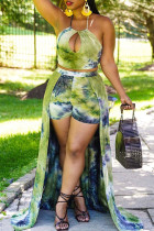 Ink Green Casual Print Hollowed Out Split Joint Frenulum Halter Sleeveless Two Pieces