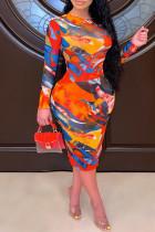 Multicolor Fashion Sexy Basic O Neck Long Sleeve Plus Size Dresses