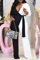 White Casual Solid Split Joint V Neck Plus Size Jumpsuits