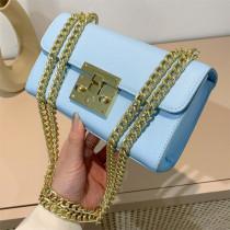 Blue Fashion Casual Solid Split Joint Chains Shoulder Bag