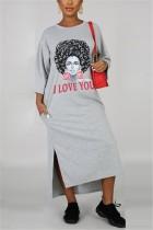 Grey adult Casual Fashion Cap Sleeve 3/4 Length Sleeves O neck Asymmetrical Ankle-Length Print