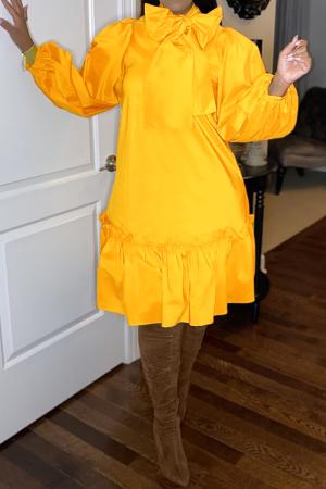 Orange Casual Solid Bandage Half A Turtleneck Cake Skirt Dresses