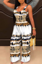 White Sexy Casual Print Backless U Neck Regular Jumpsuits