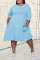 Sky Blue Casual Solid Split Joint O Neck Straight Dresses