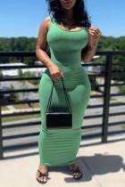 Green Sexy Casual Solid Basic U Neck Vest Dress Dresses