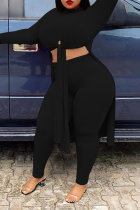 Black Sexy Solid High Opening Half A Turtleneck Plus Size Two Pieces