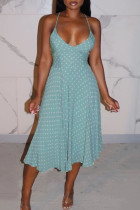 Blue Sexy Print Polka Dot Split Joint Backless Spaghetti Strap Sling Dress Dresses
