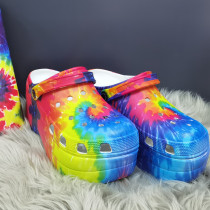 Colour Fashion Casual Hollowed Out Tie-dye Printing Round Comfortable Shoes