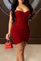 Burgundy Sexy Solid Split Joint Fold Asymmetrical Spaghetti Strap Sling Dress Dresses