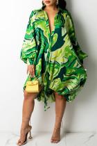 Green Sexy Print Draw String Asymmetrical Turndown Collar A Line Dresses
