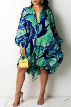 Blue Sexy Print Draw String Asymmetrical Turndown Collar A Line Dresses