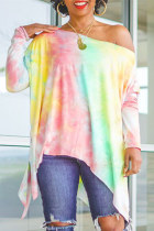 Multicolor Fashion Casual Print Tie Dye Asymmetrical Oblique Collar Tops