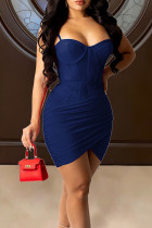 Royal Blue Sexy Solid Split Joint Fold Asymmetrical Spaghetti Strap Sling Dress Dresses