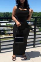 Black Sexy Casual Solid Basic U Neck Vest Dress Dresses