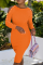 Tangerine Red Sexy Solid Buckle O Neck Pencil Skirt Dresses