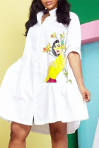 White Fashion Casual Print Basic Turndown Collar Shirt Dress Dresses