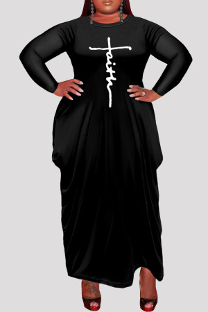 Black Fashion Casual Plus Size Print Asymmetrical O Neck Long Sleeve Dresses