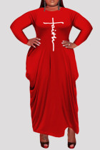 Red Fashion Casual Plus Size Print Asymmetrical O Neck Long Sleeve Dresses